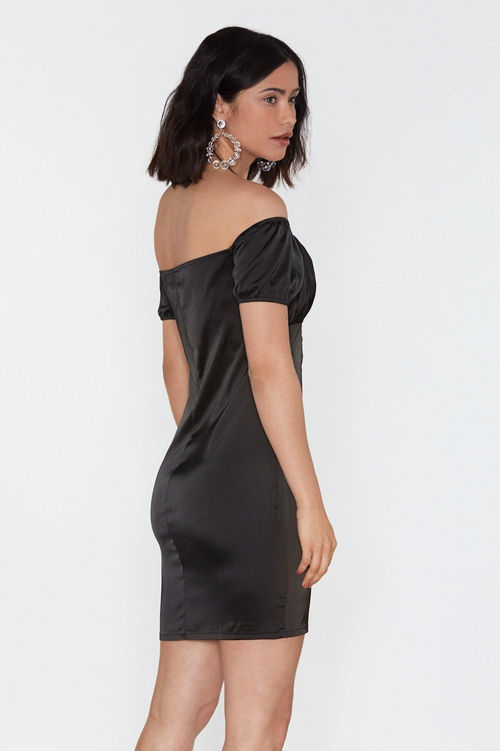 30cd6094344 ... Busted Satin Off-the-shoulder Dress - Lyst. View fullscreen