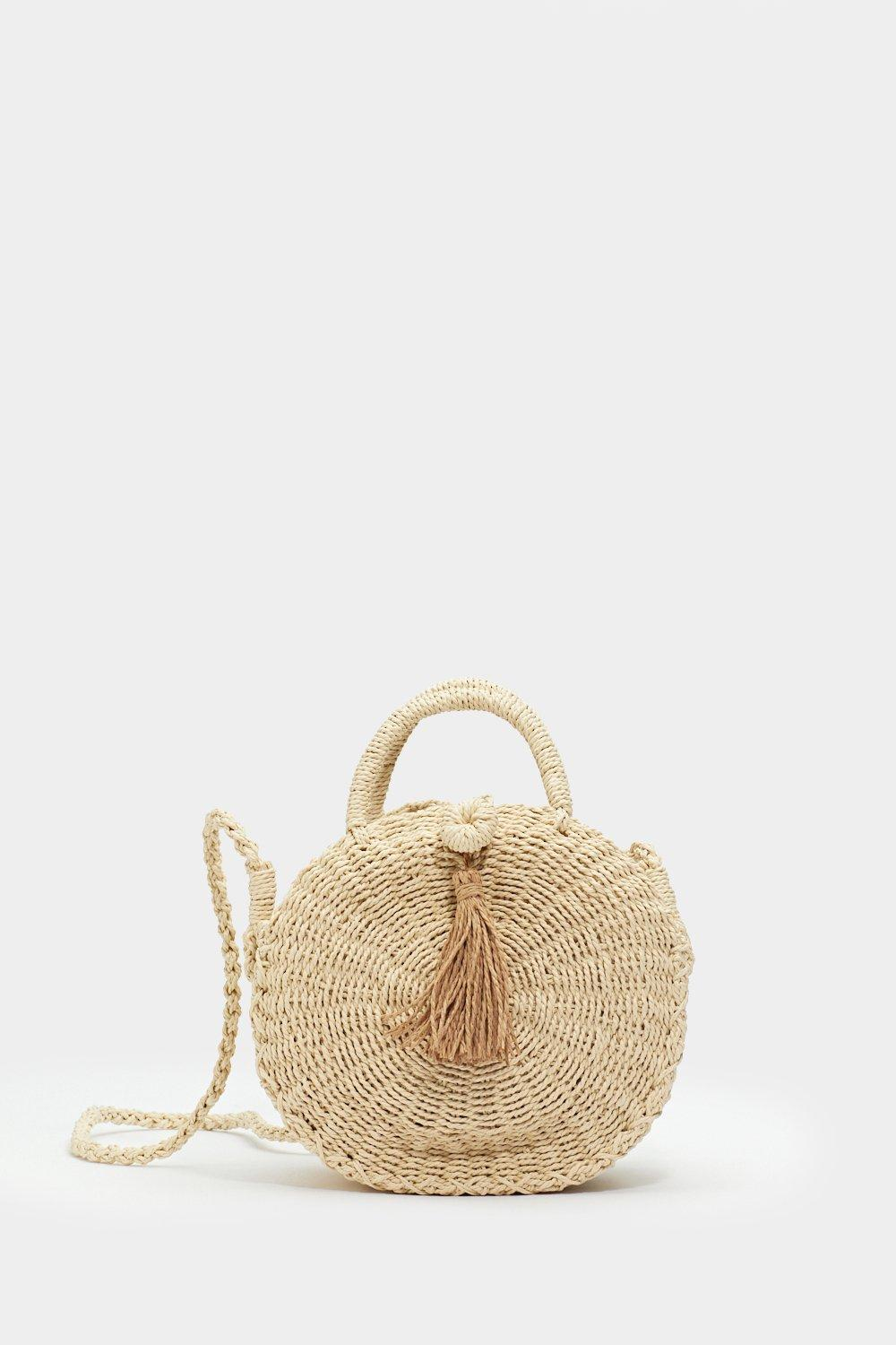 Nasty Gal Want Let's Call It A Straw Crossbody Bag in Natural