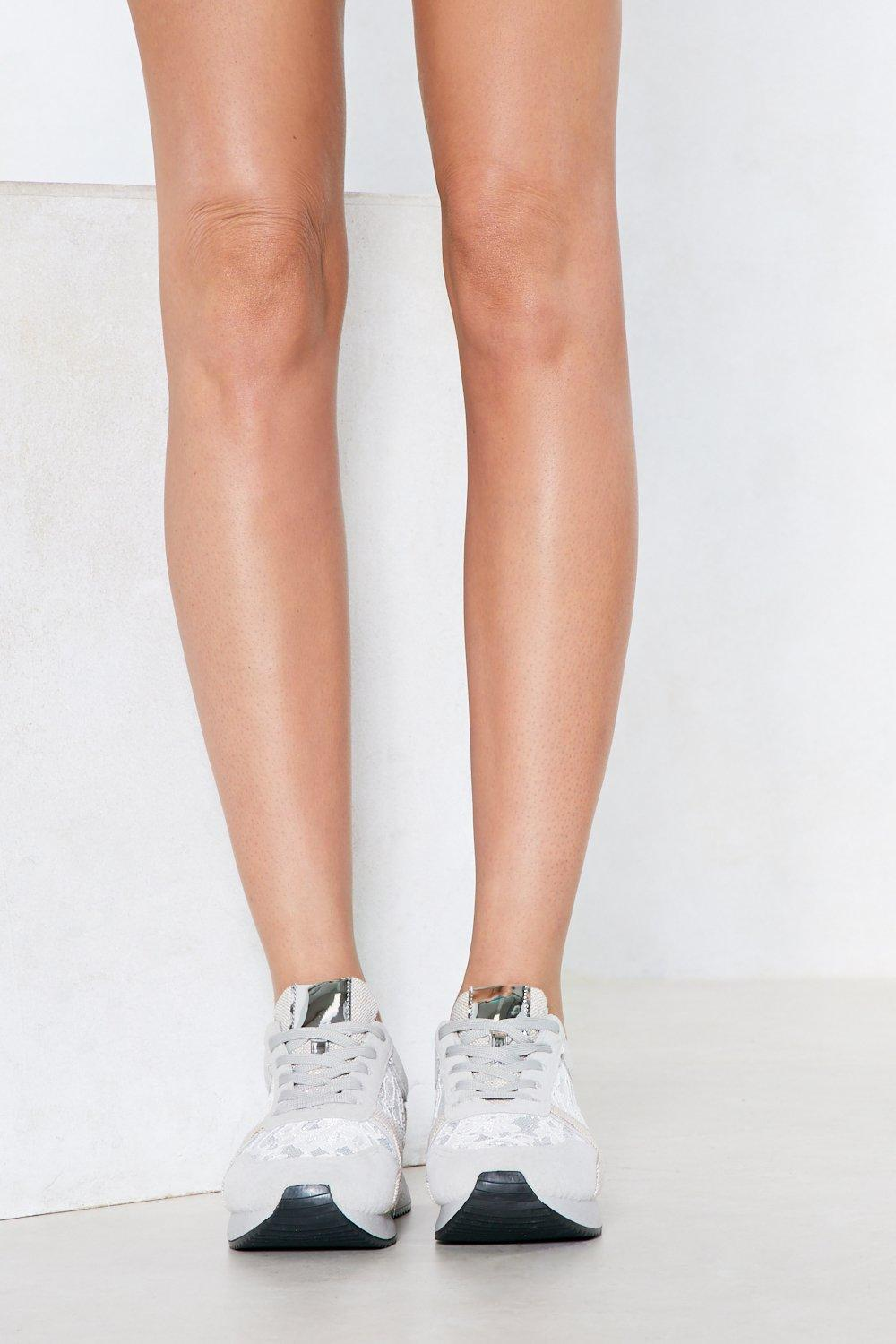 """Nasty Gal Synthetic """"one Step At A Time Metallic Sneaker"""" in Grey (Grey)"""