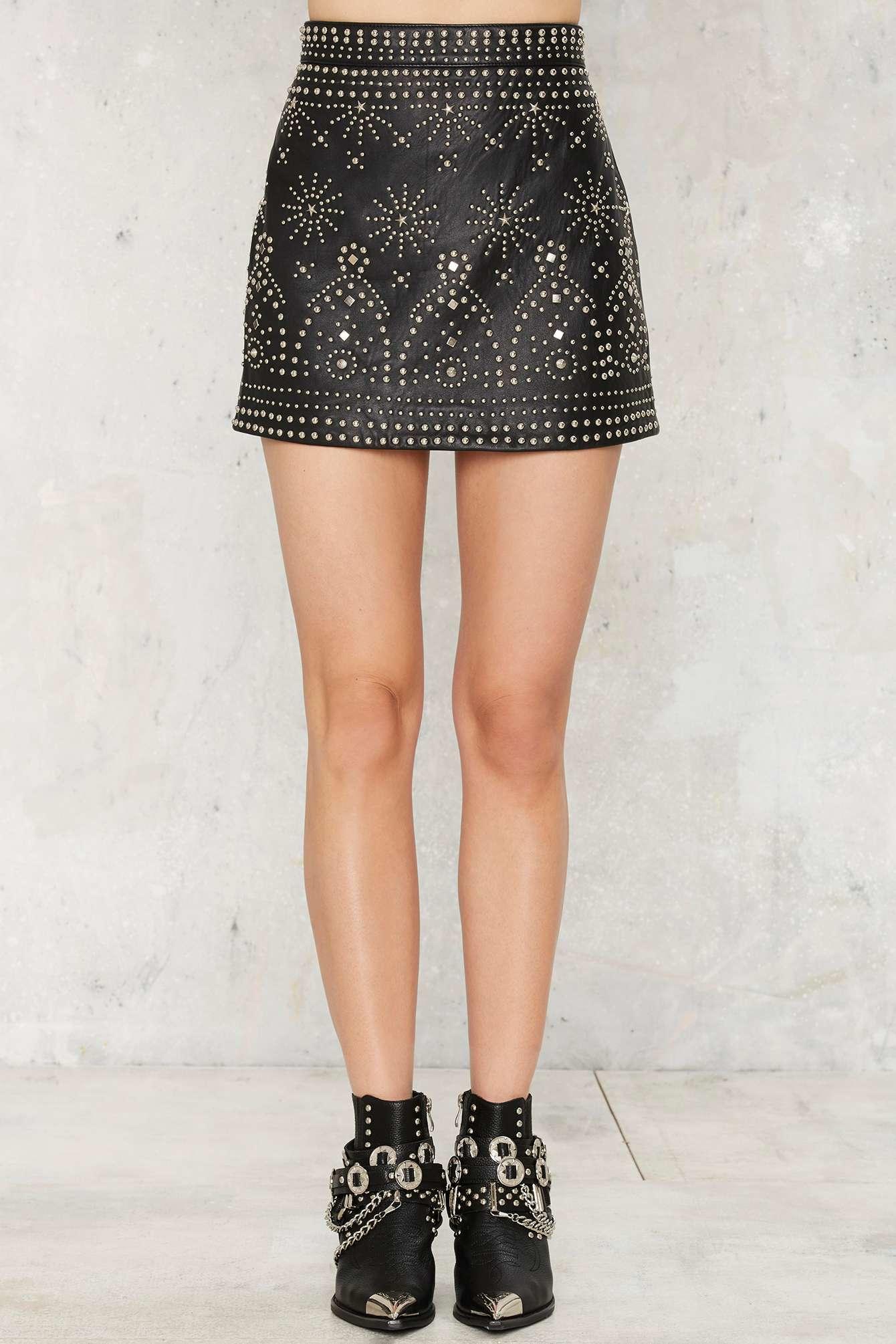gal finn studded leather skirt in black lyst