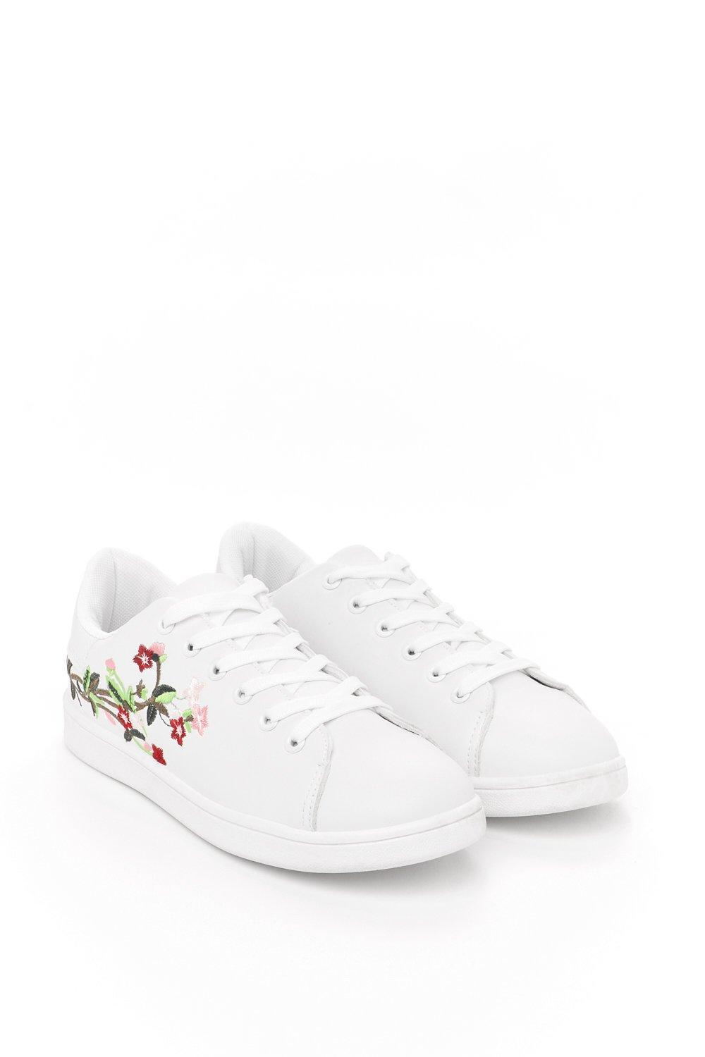 Nasty Gal Synthetic Cherry Blossom Floral Embroidered Sneaker Cherry Blossom Floral Embroidered Sneaker in White