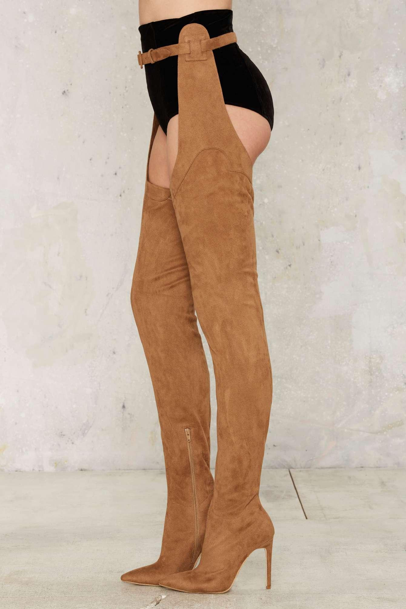 Jeffrey Campbell Maven Thigh High Boot Taupe In Natural