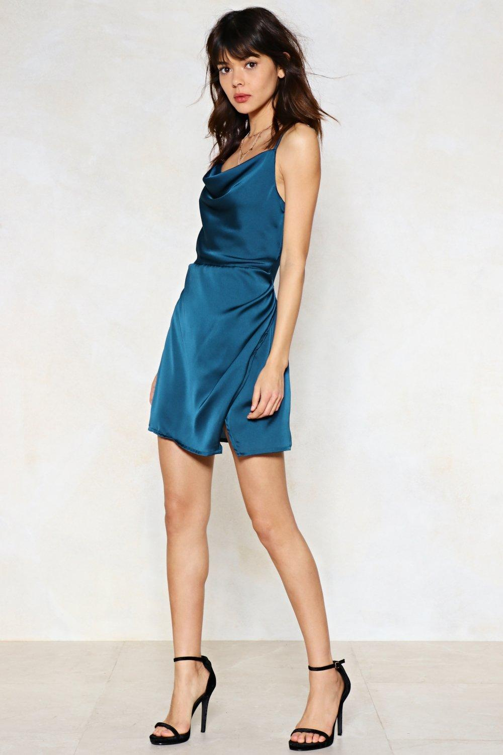 Nasty Gal Synthetic Quot Cowl About Mini Dress Quot In Teal Blue