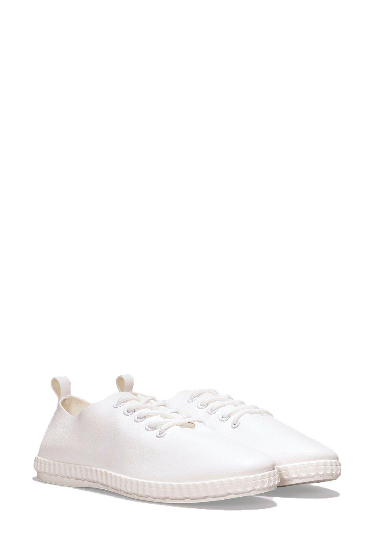 Nasty Gal Wherever I May Roam Vegan Leather Sneaker in White