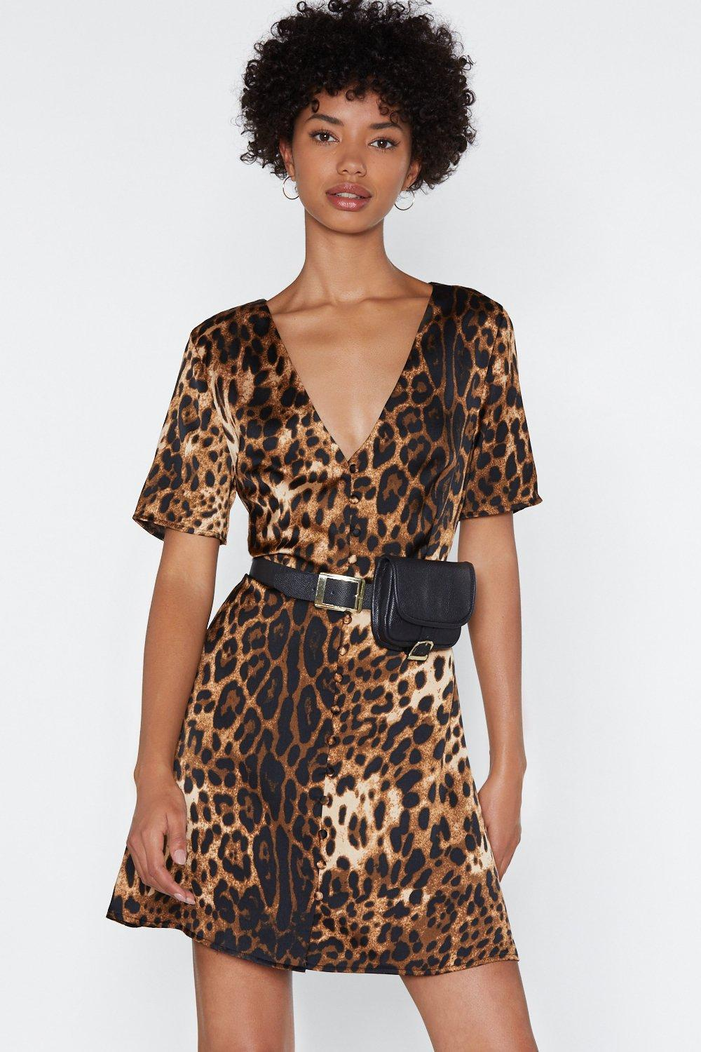 64a31f89477e Lyst - Nasty Gal If Not Meow Leopard Dress in Brown