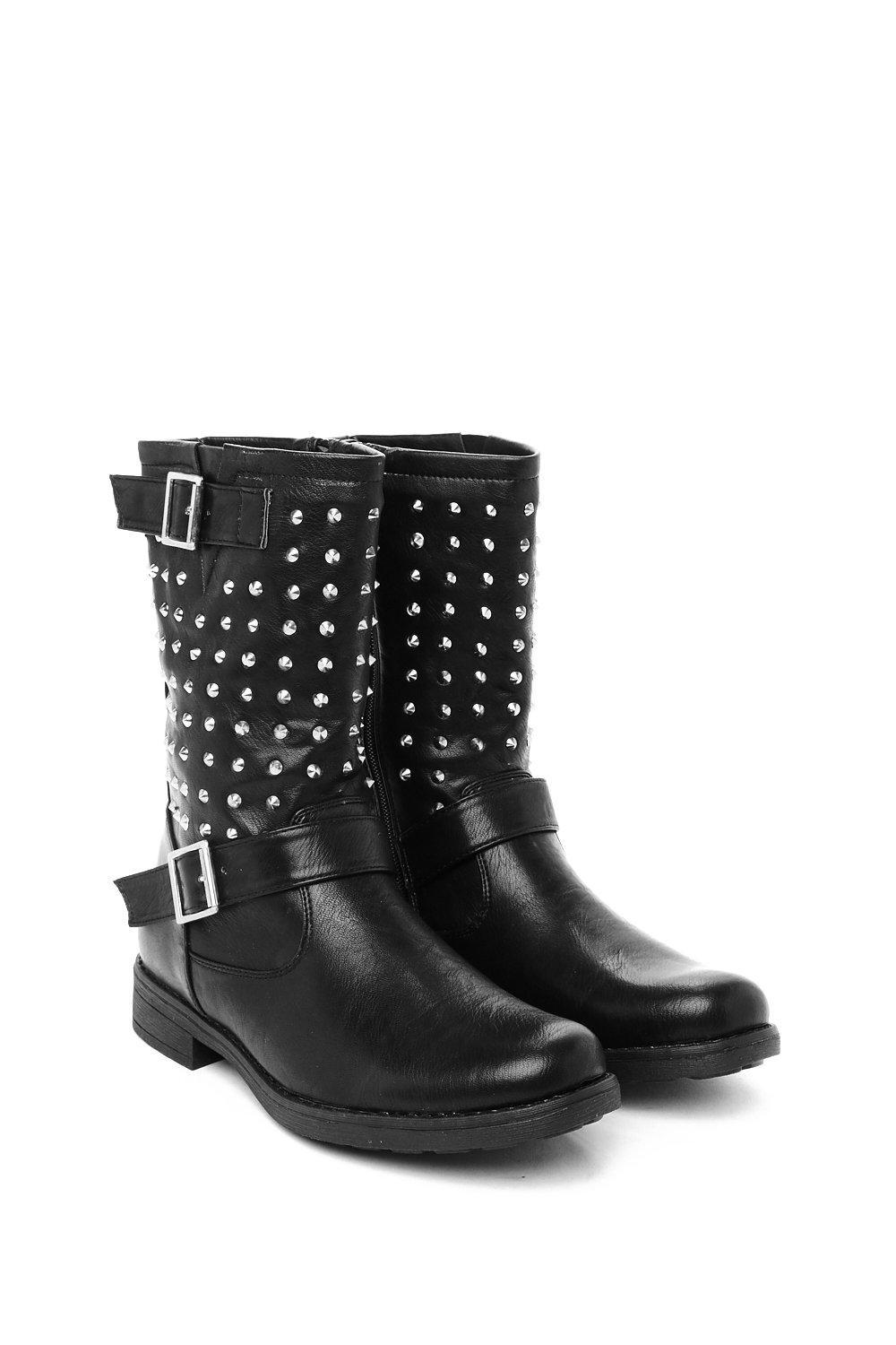 Nasty Gal Leather Killa Boots Man Studded Biker Boots Killa Boots Man Studded Biker Boots in Black