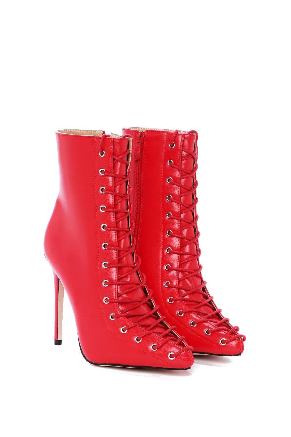 """Nasty Gal """"can't Hold Us Down Lace-up Boot"""" in Red"""