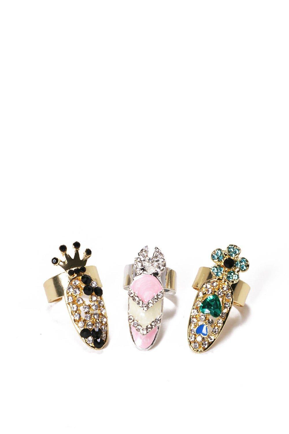 Nasty Gal Synthetic Royal Treatment 3-pc Ring Set Royal Treatment 3-pc Ring Set in Gold (Metallic)