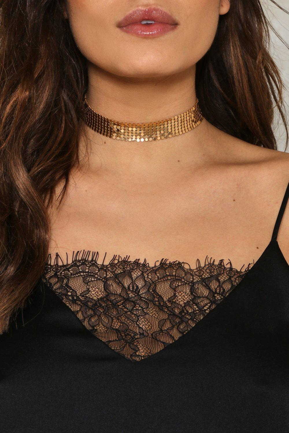 Nasty Gal Synthetic Stella Chain Choker in Gold (Metallic)