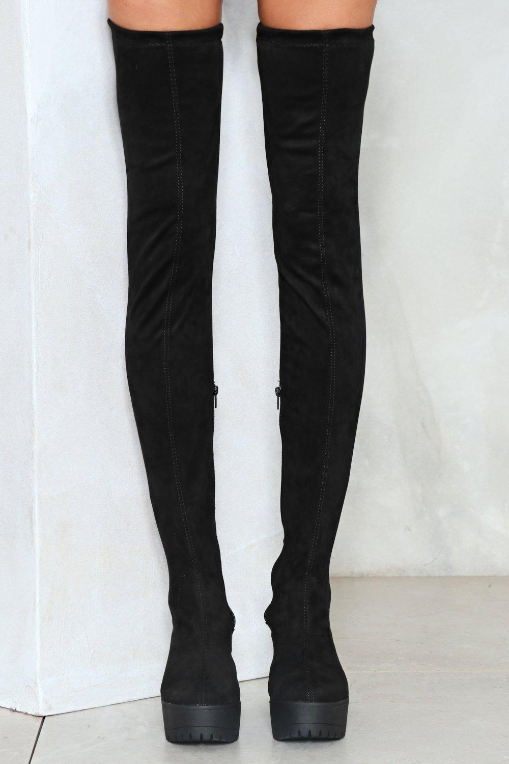Nasty Gal Vegan Suede Thigh High Cleated Boot Vegan Suede Thigh High Cleated Boot in Black