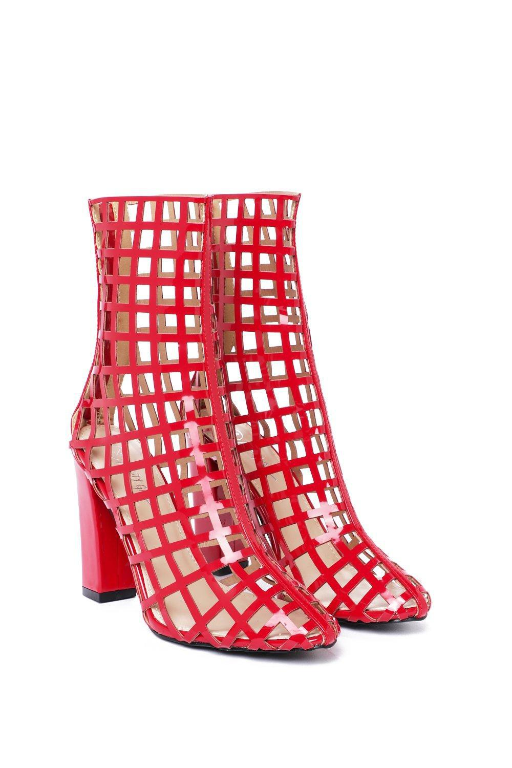 Nasty Gal Synthetic Prisoner Cage Bootie in Red