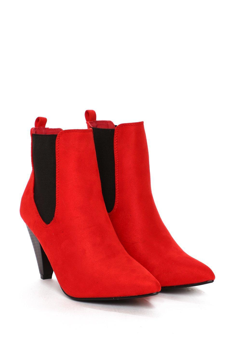 Nasty Gal Cone With The Wind Chelsea Boot in Red