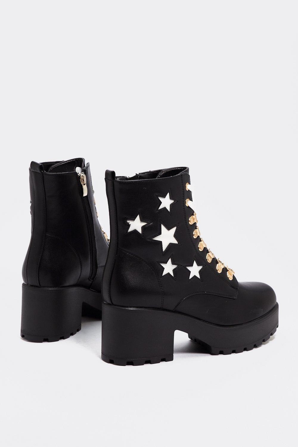 Nasty Gal You're Gonna Go Star Boot in Black