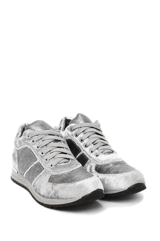 Nasty Gal Words Scale Me Velvet Sneaker in Grey (Grey)