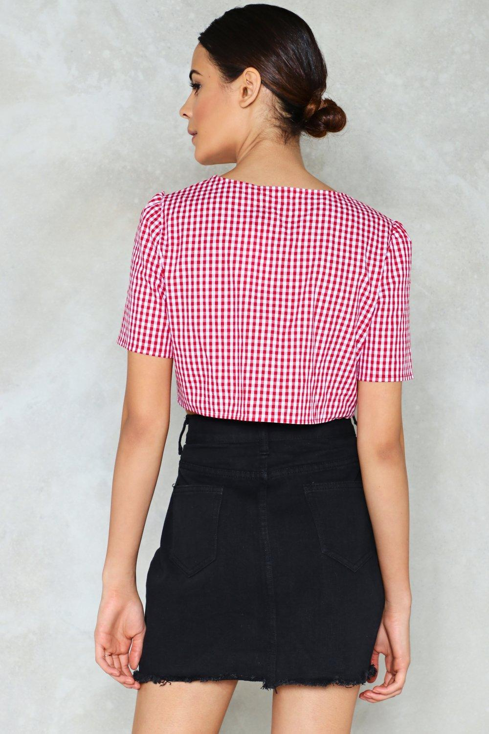 49b1030754f038 Nasty Gal Off The Grid Gingham Crop Top in Red - Lyst