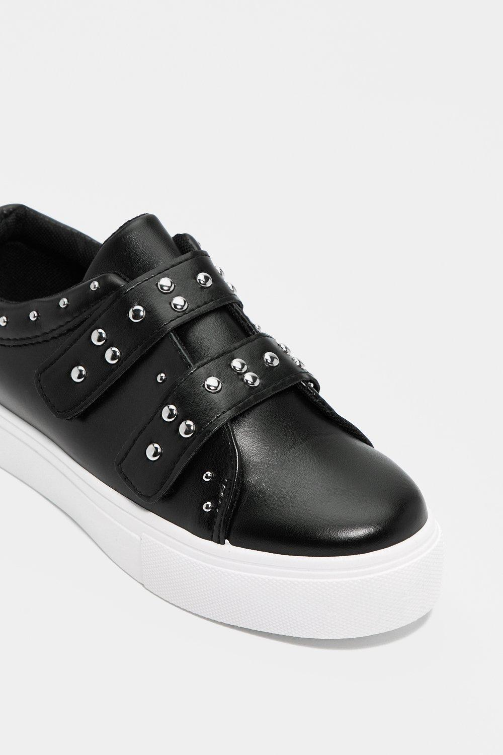 "Nasty Gal Leather ""wudda Stud Sneaker"" in Black"