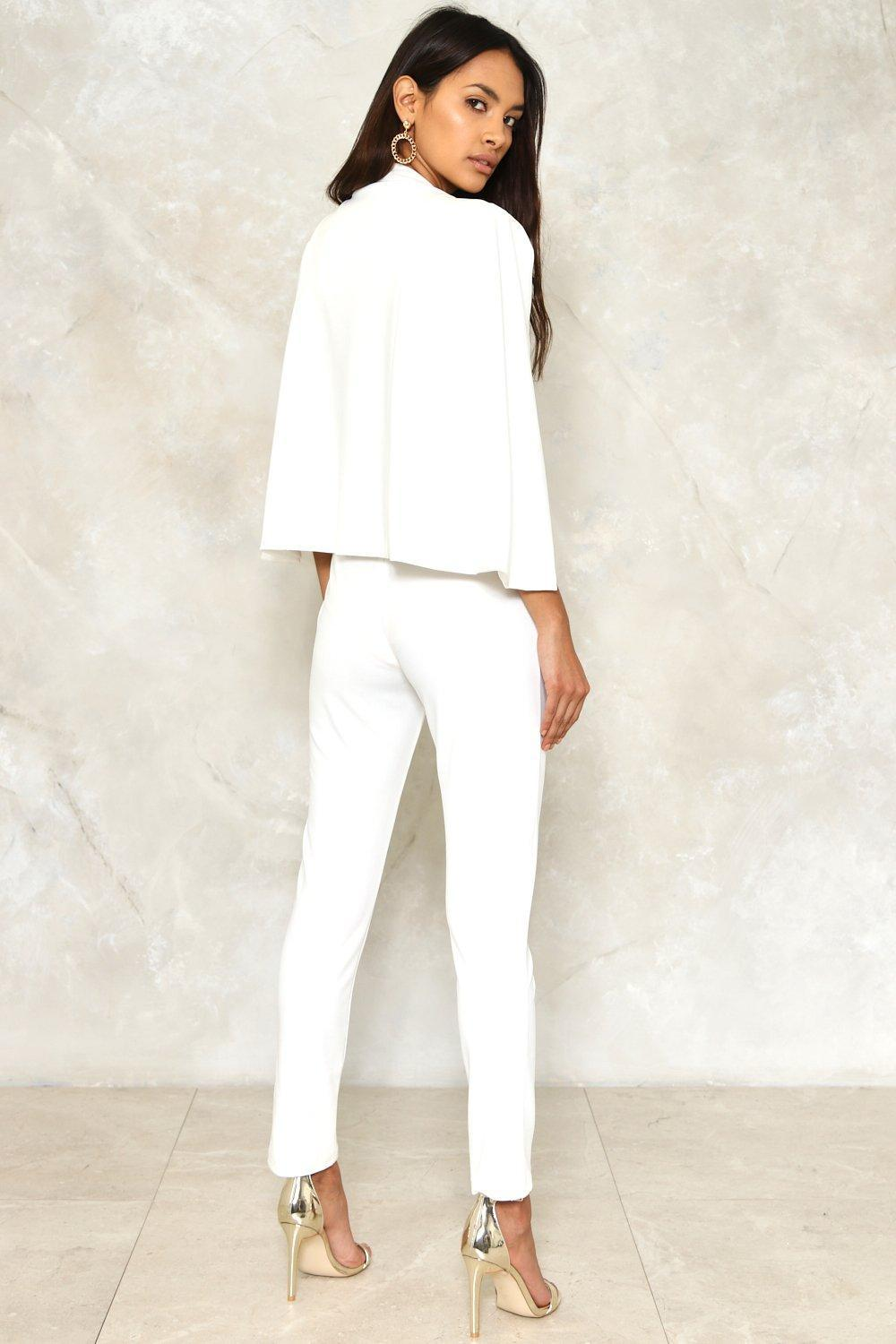 Lyst Nasty Gal Cape It Together Tailored Jumpsuit In White