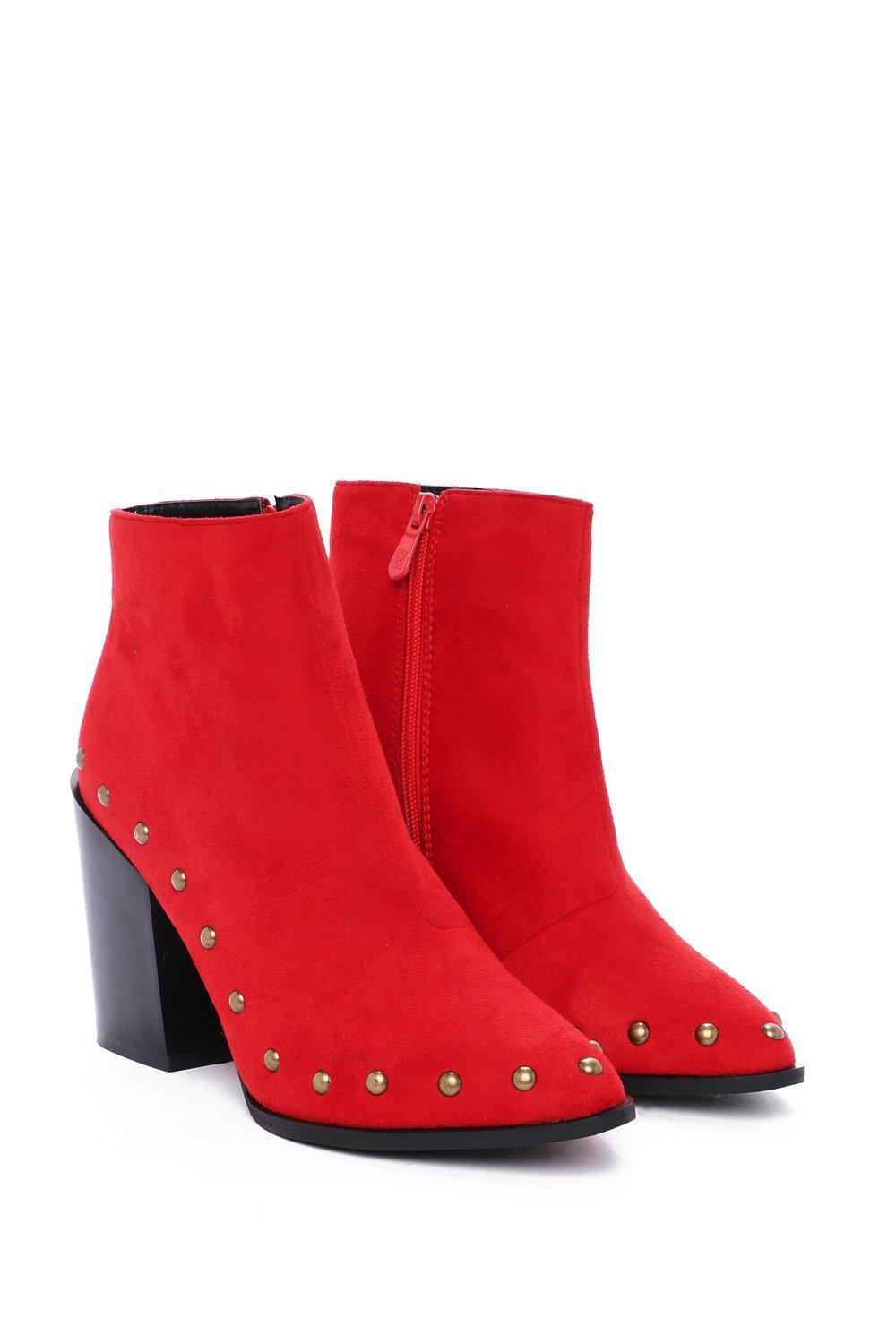 """Nasty Gal Synthetic """"best Of The West Studded Boot"""" in Red"""