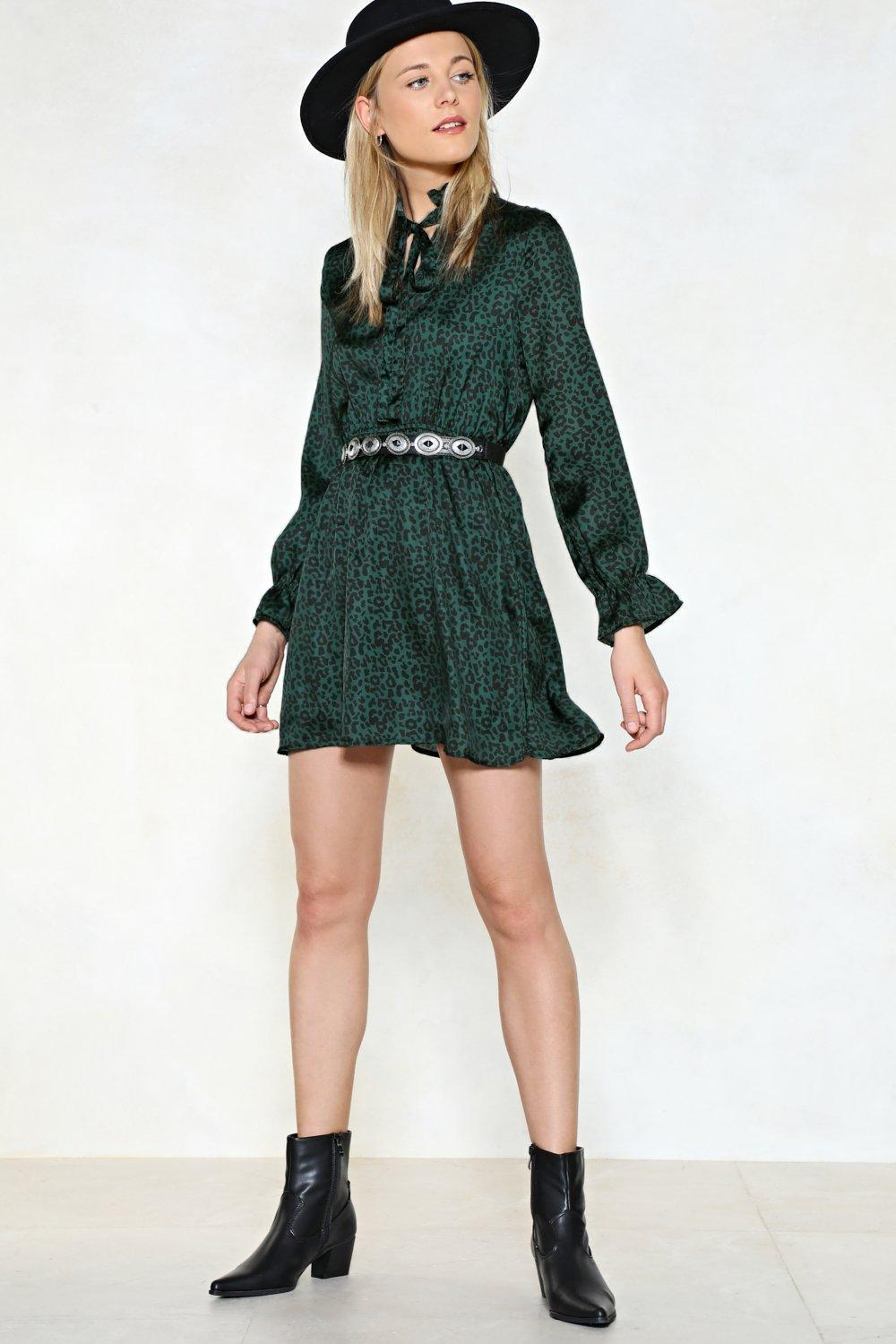 Nasty Gal Animal Print Pussybow Mini Dress In Satin Animal Print Pussybow Mini Dress In Satin in Teal (Green)