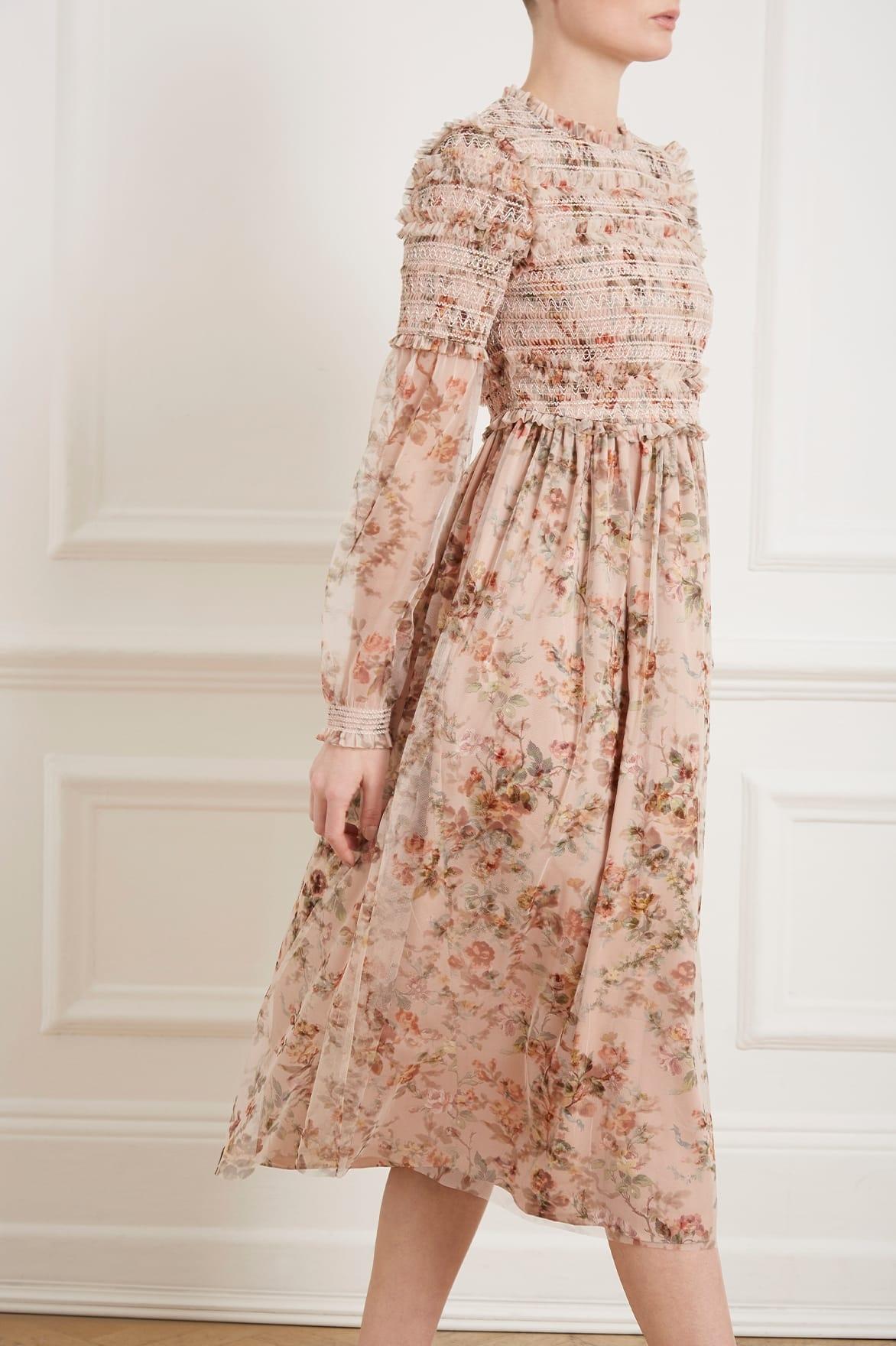 01490e7376dd Needle   Thread - Pink Garland Smocked Midi Dress - Lyst. View fullscreen