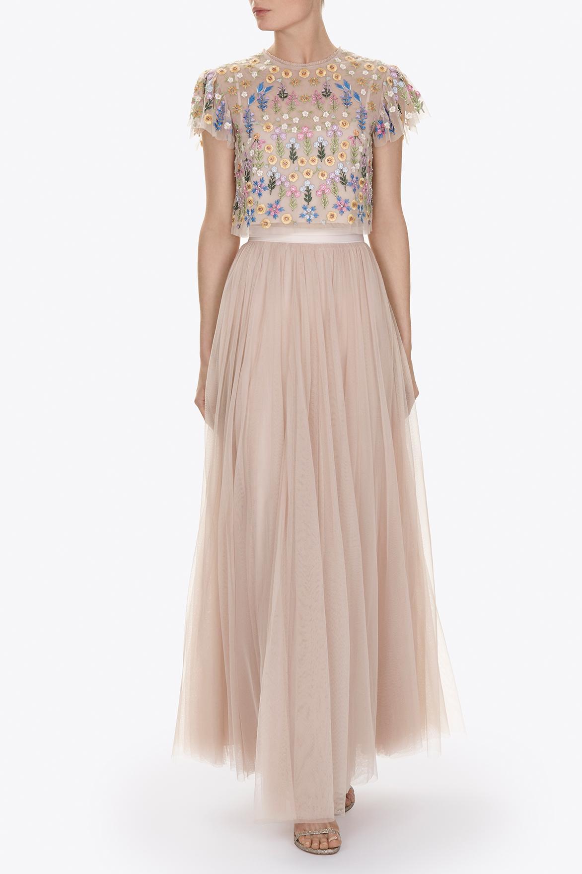 needle thread tulle maxi skirt in pink lyst