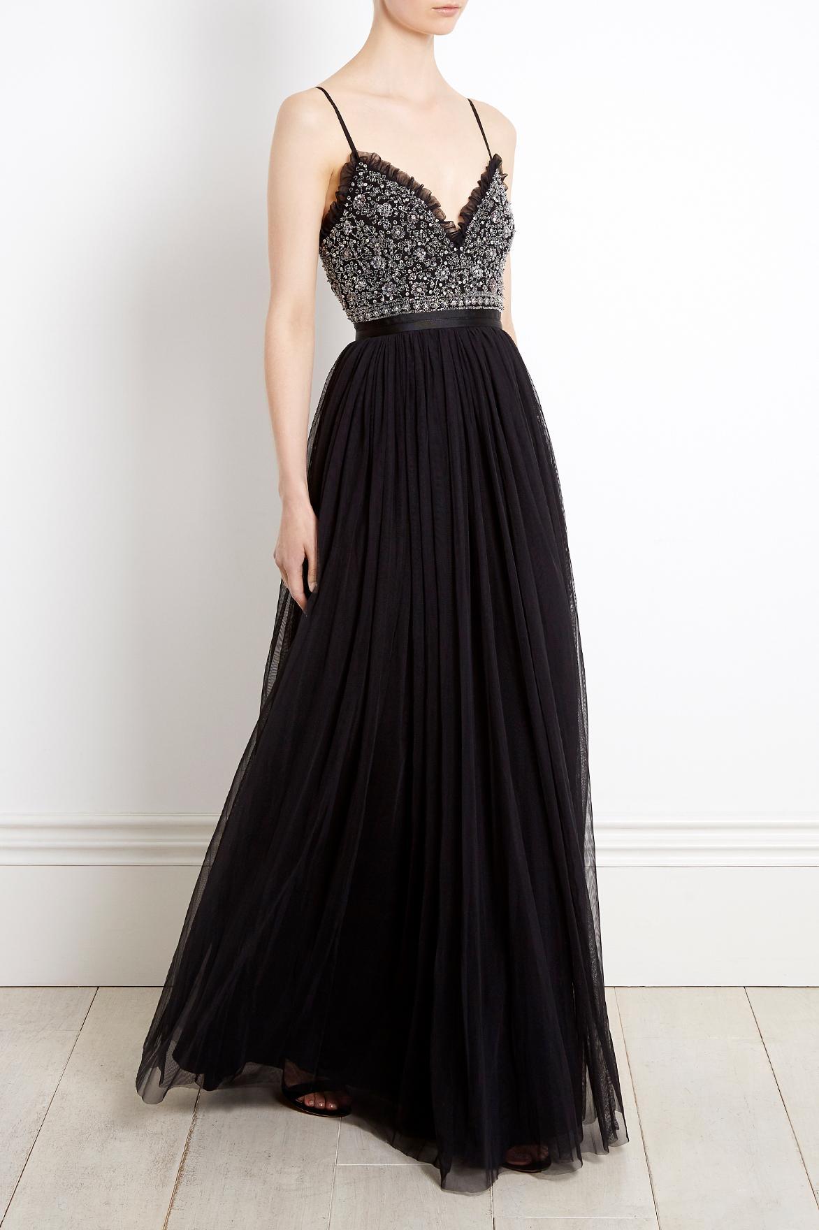 lyst needle u0026 thread jet frill dress in black