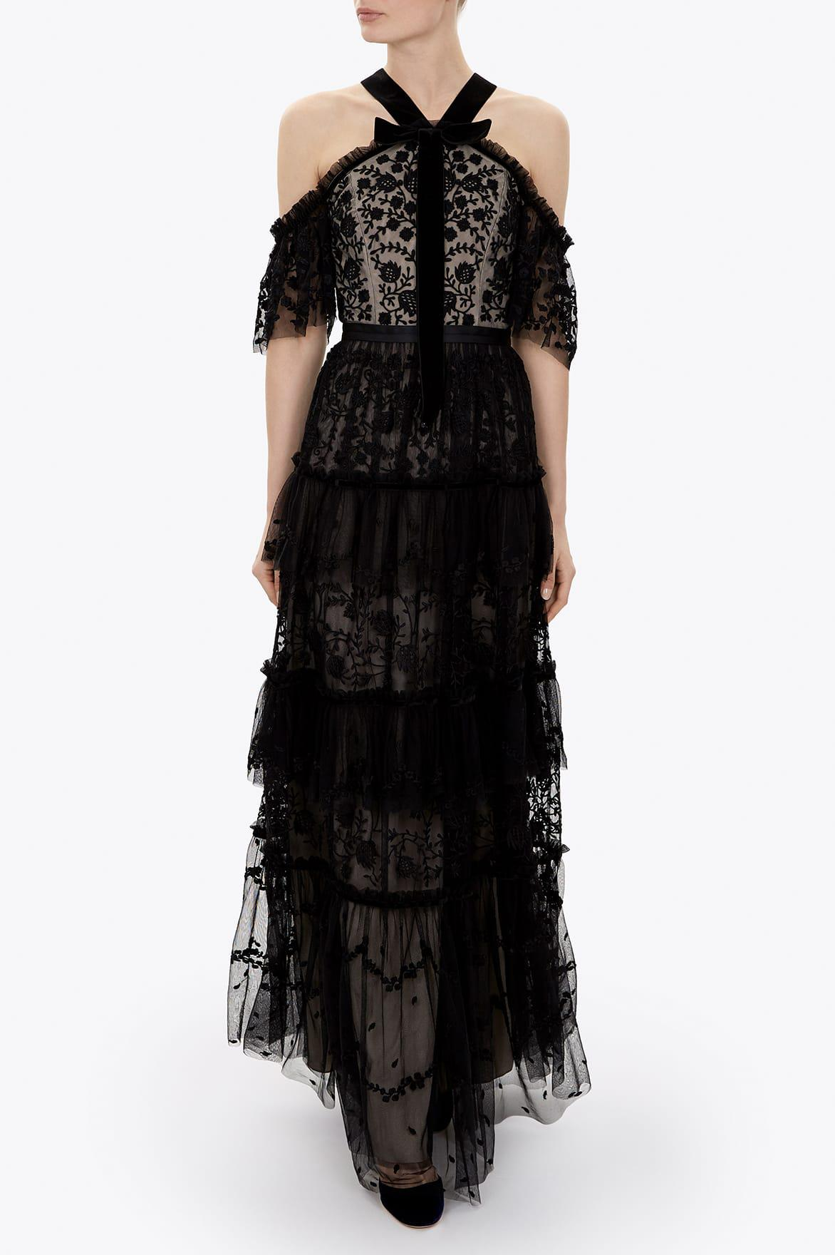 Needle & Thread Velvet Primrose Gown in Black