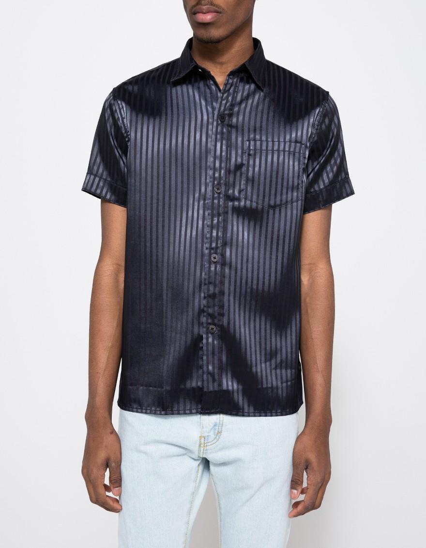 Han Kjobenhavn Mist Shirt Stribe In Black For Men Lyst