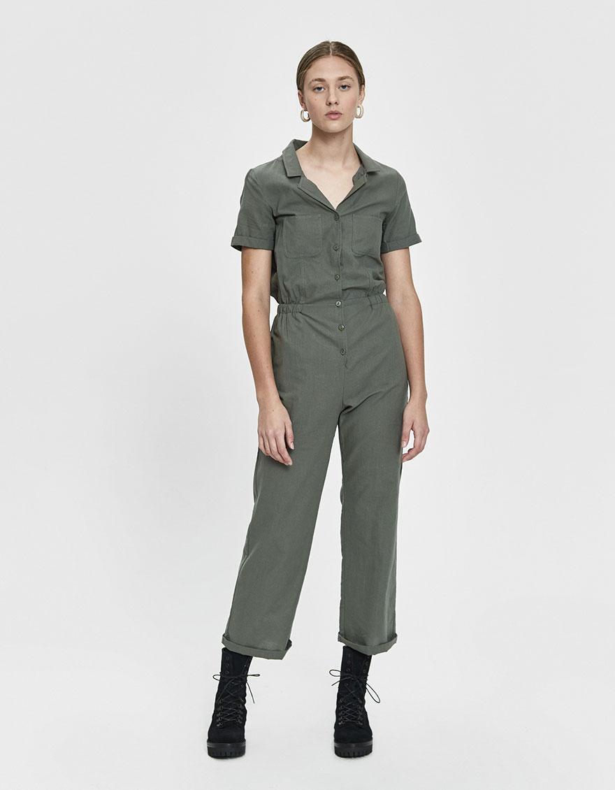 7f945741001e Lyst - Stelen Dua Collared Jumpsuit in Green