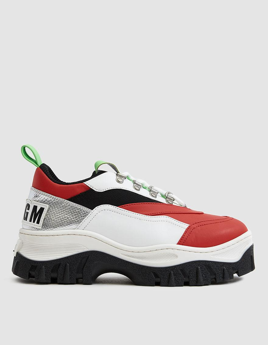 c2f8e652a6 MSGM Tractor Block Lace Up Sneaker in Red - Lyst