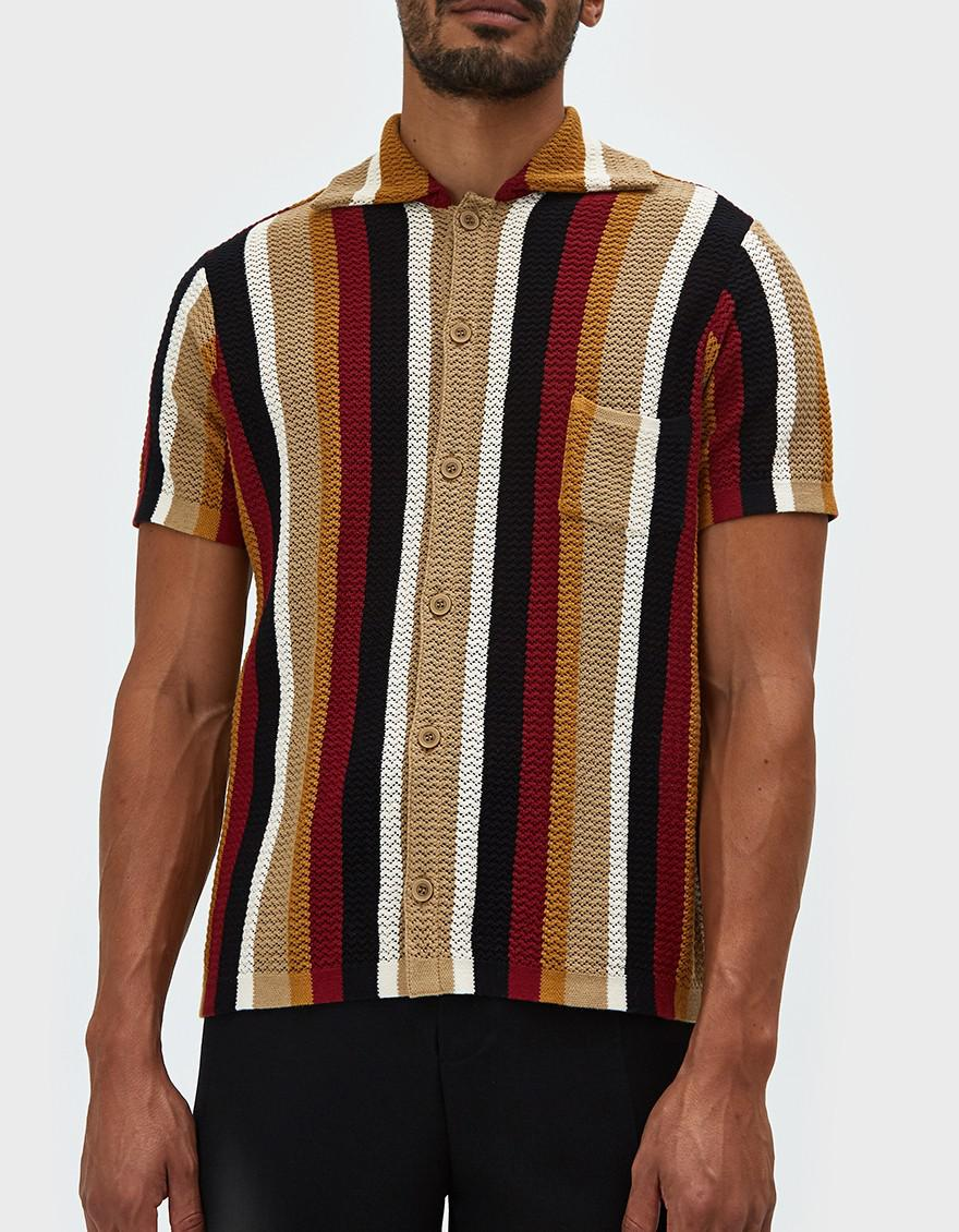 6caccebfb6 Cmmn Swdn Wes Knitted Shirt In Multi for Men - Lyst