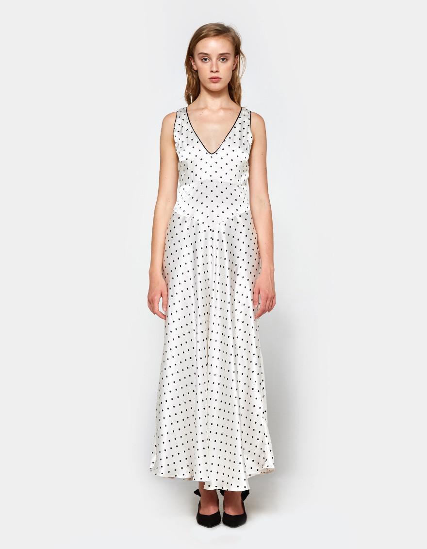 894b303bc0 Ganni Leclair Satin Maxi Dress in White - Lyst