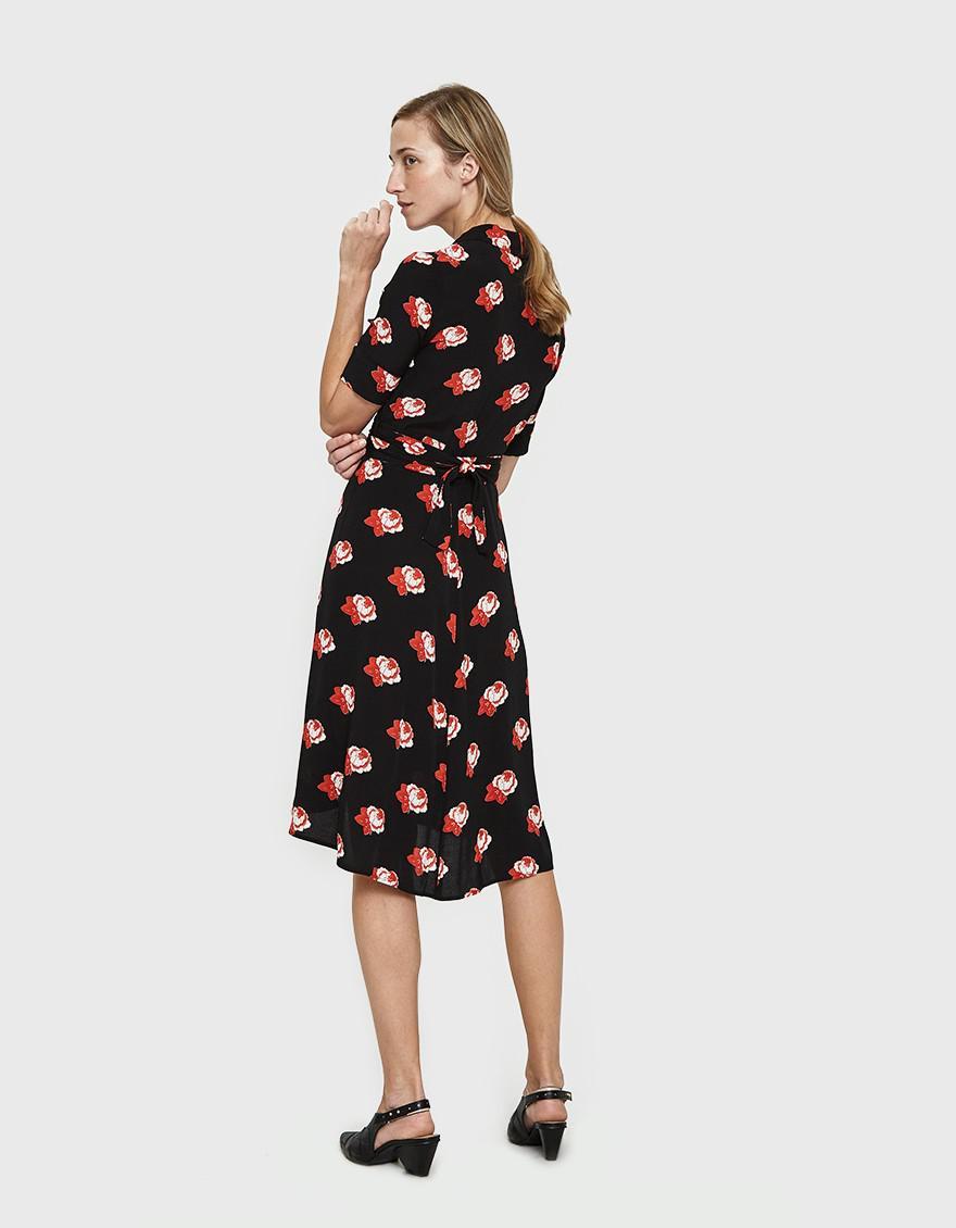 Ganni Harley Floral Print Dress In Black Lyst