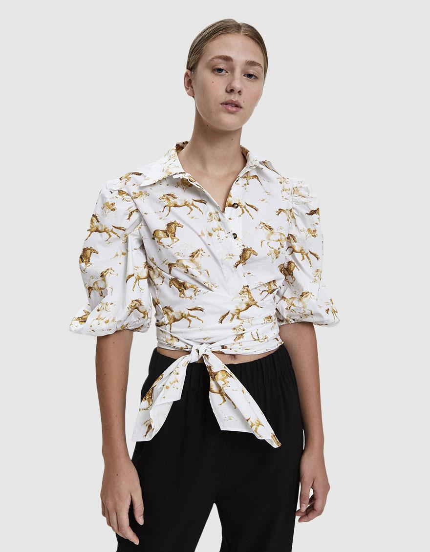 bc02d3236fef Lyst - Ganni Printed Poplin Tie Front Top in White - Save 1%