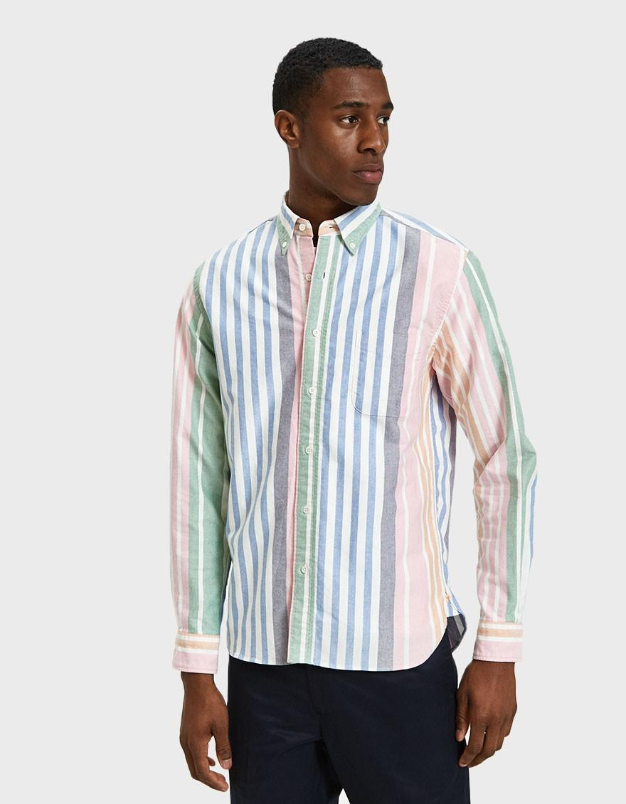 Beams Plus Blue Button Down Oxford Wide Candy Stripe for men