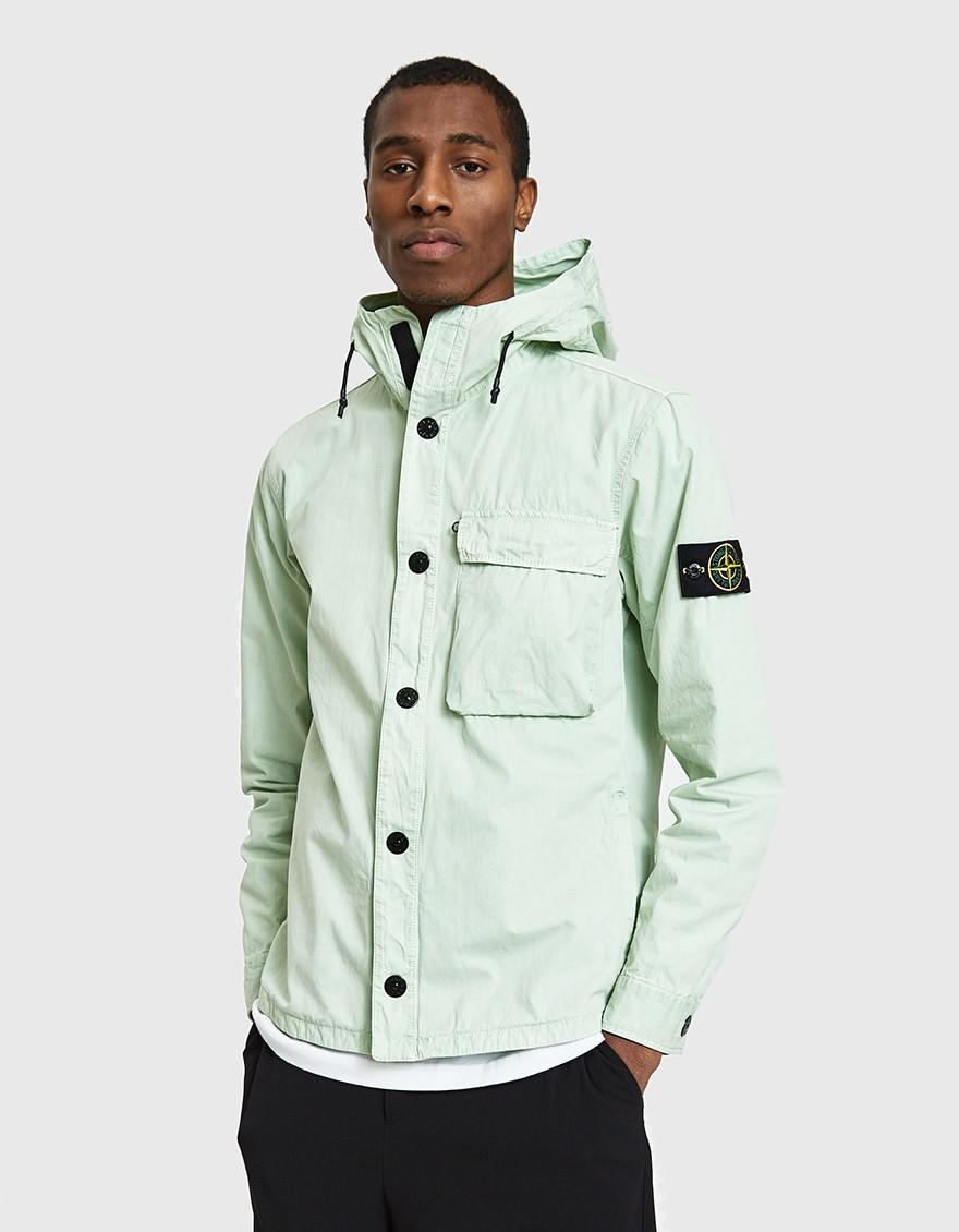 80477c26a Stone Island Brushed Cotton Canvas Hooded Overshirt in Green for Men ...