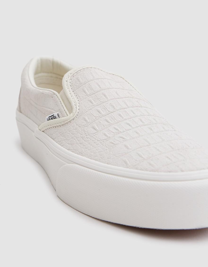 Vans White Classic Embossed Platform Slip On
