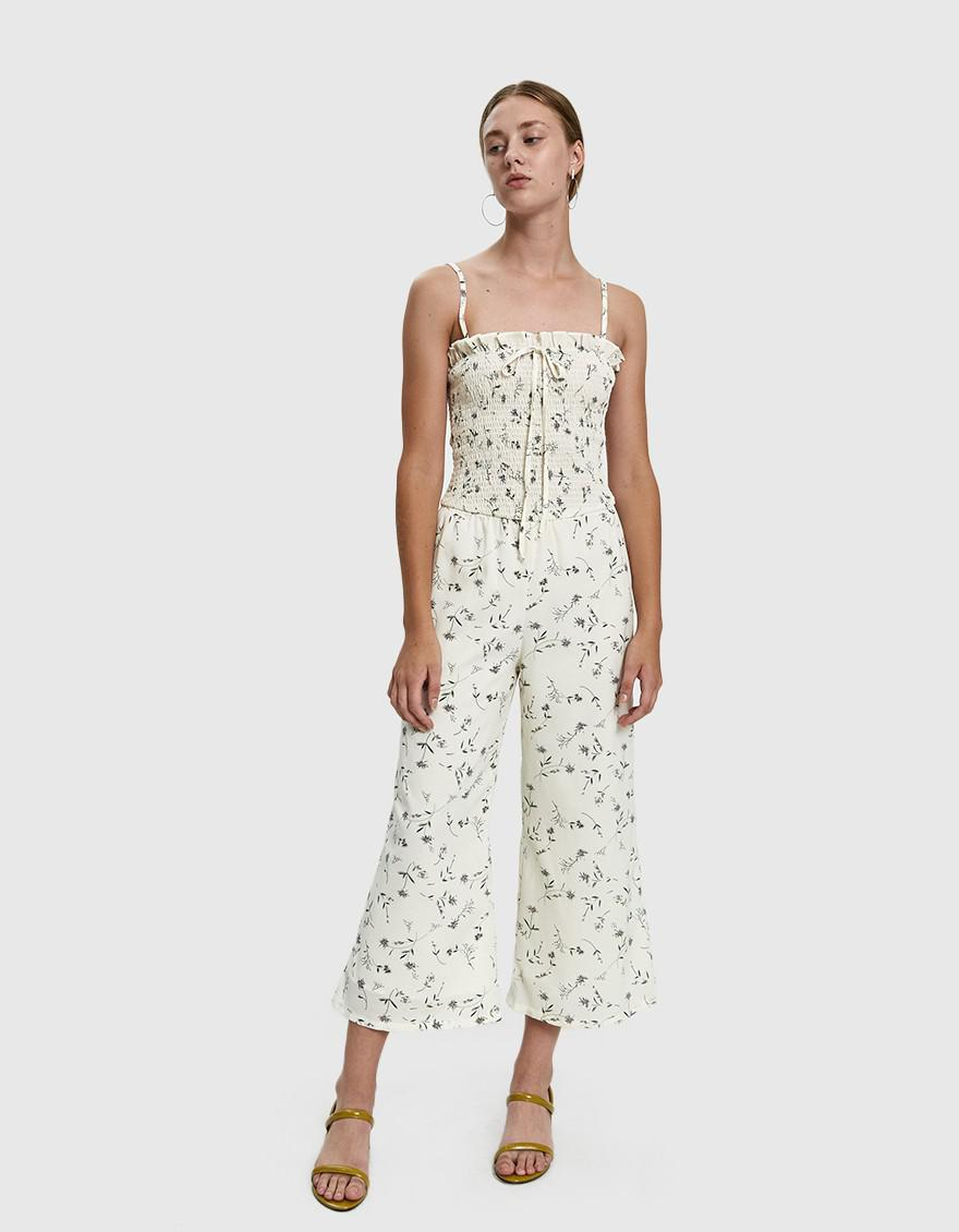9afcadc4b067 Farrow Hollie Smocked Jumpsuit in White - Lyst