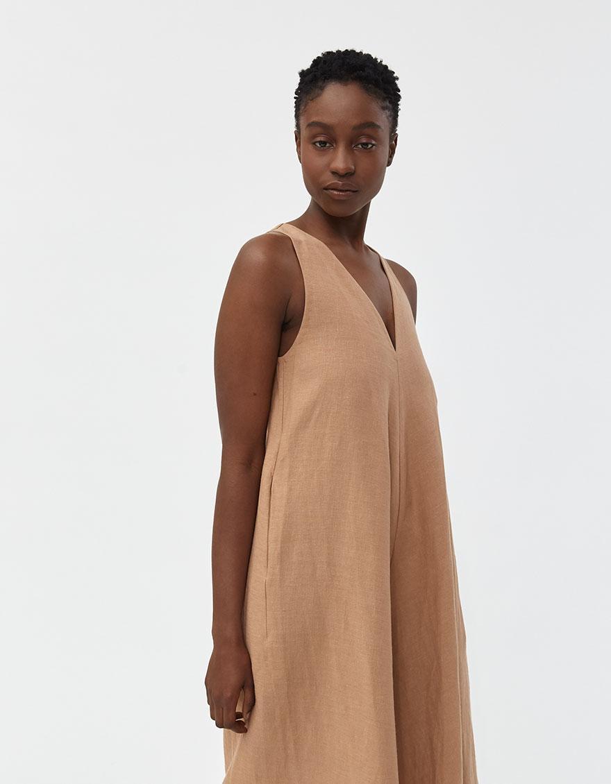121877533 Kaarem - Brown Ginger Wide Leg Cropped Jumpsuit - Lyst. View fullscreen