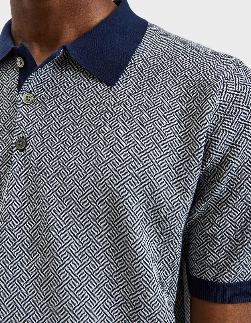 Beams Plus Blue Knit Jacquard Polo In Navy for men