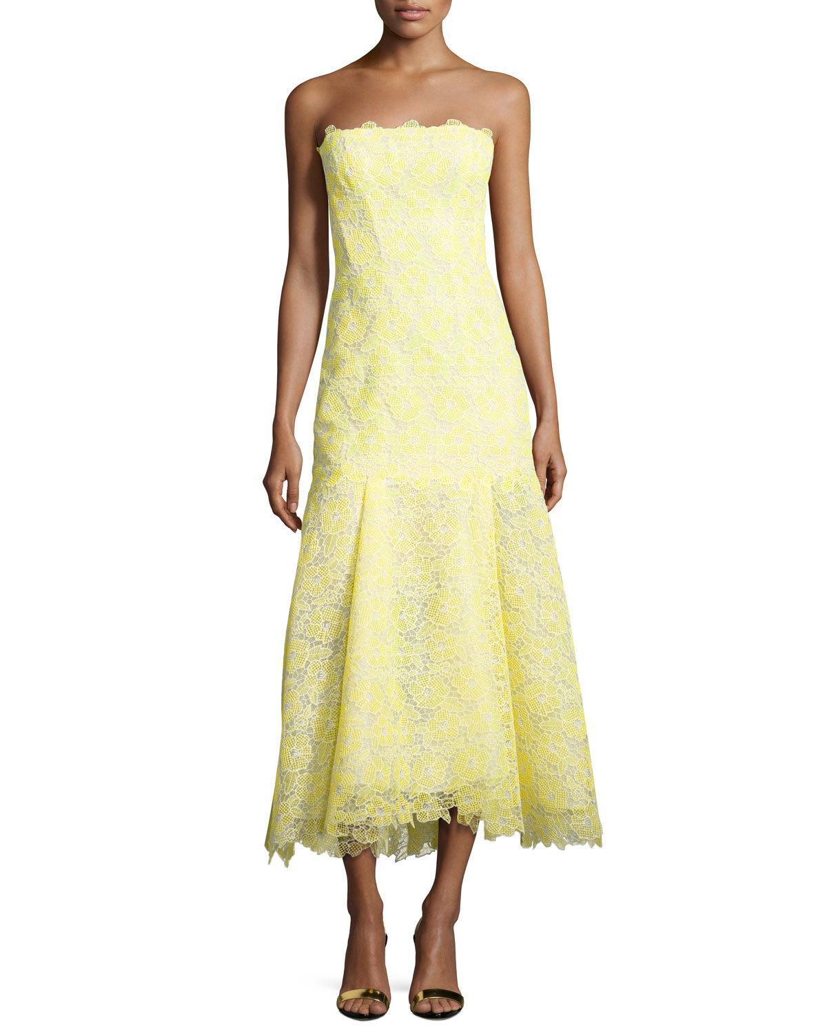 673ad1320b43 Monique Lhuillier Strapless Lace Trumpet Cocktail Dress in Yellow - Lyst