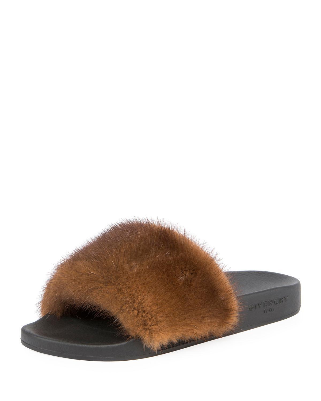 56921b15e98c Lyst - Givenchy Mink Fur Slide Sandals in Black - Save 40%