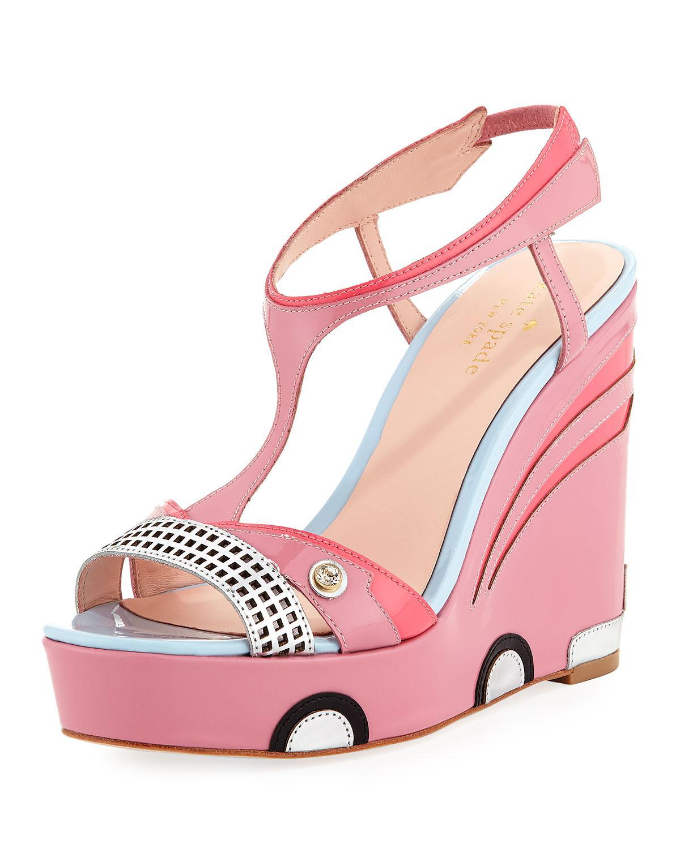 0177d777dd5 Lyst - Kate Spade Deanna Car Platform Wedge Sandal in Pink