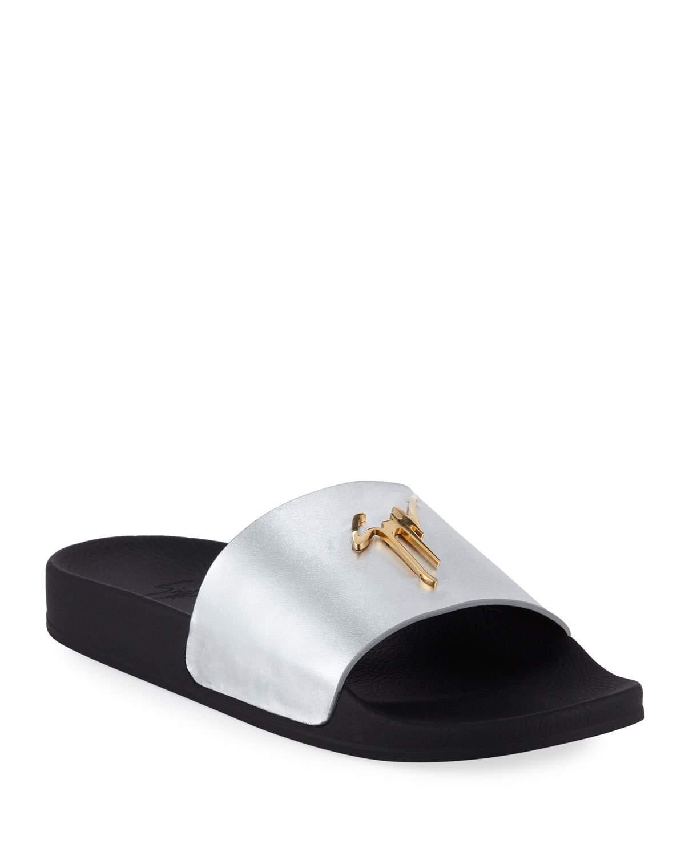 094498b50 Lyst - Giuseppe Zanotti Men s Logo Leather Slide Sandals in Gray for Men