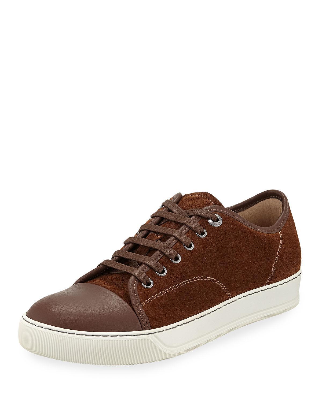 9151948a1cf Lyst - Lanvin Men s Matte Cap-toe Low-top Sneakers in Brown for Men