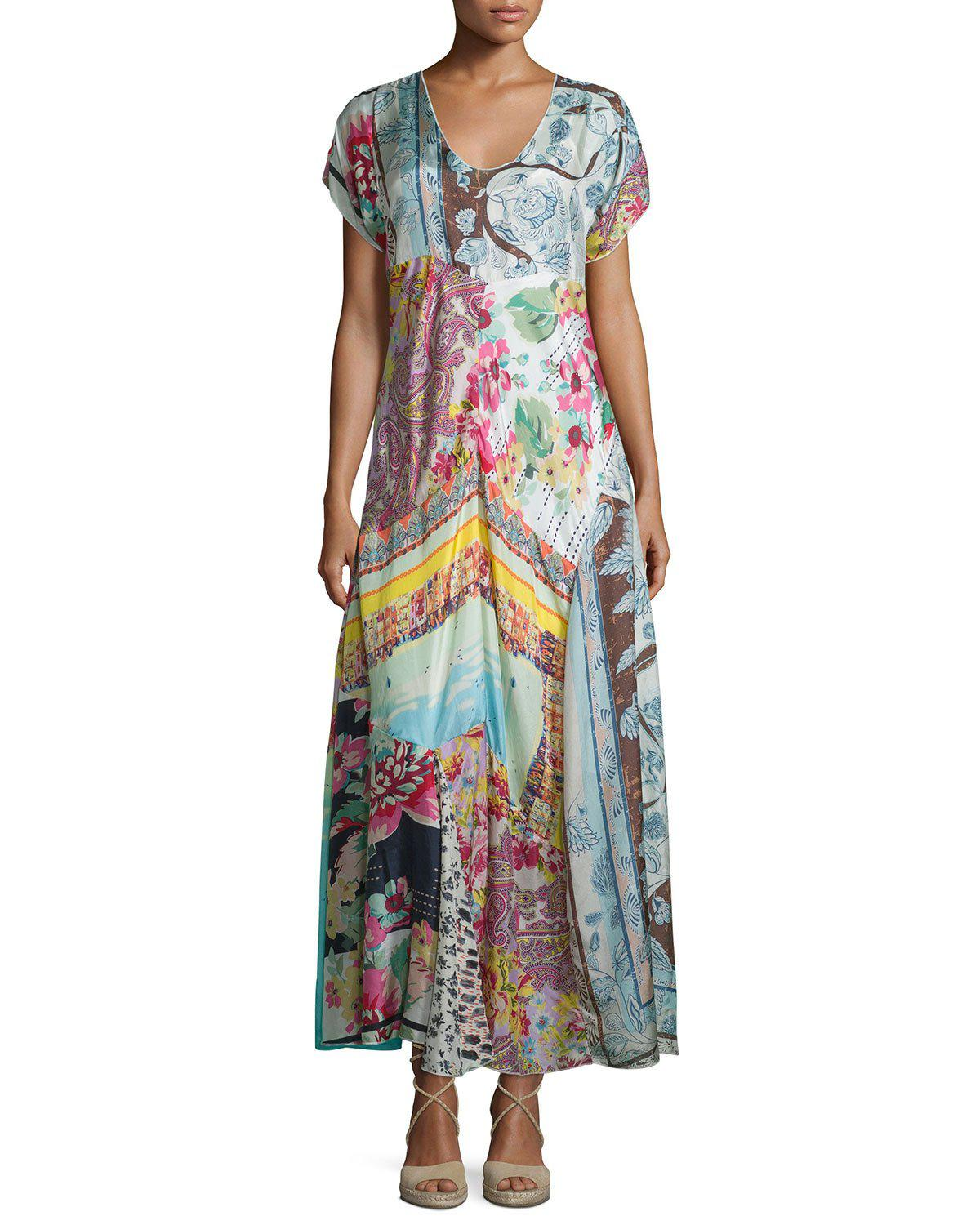 Johnny Was Petite Printed Georgette Maxi Dress - Lyst