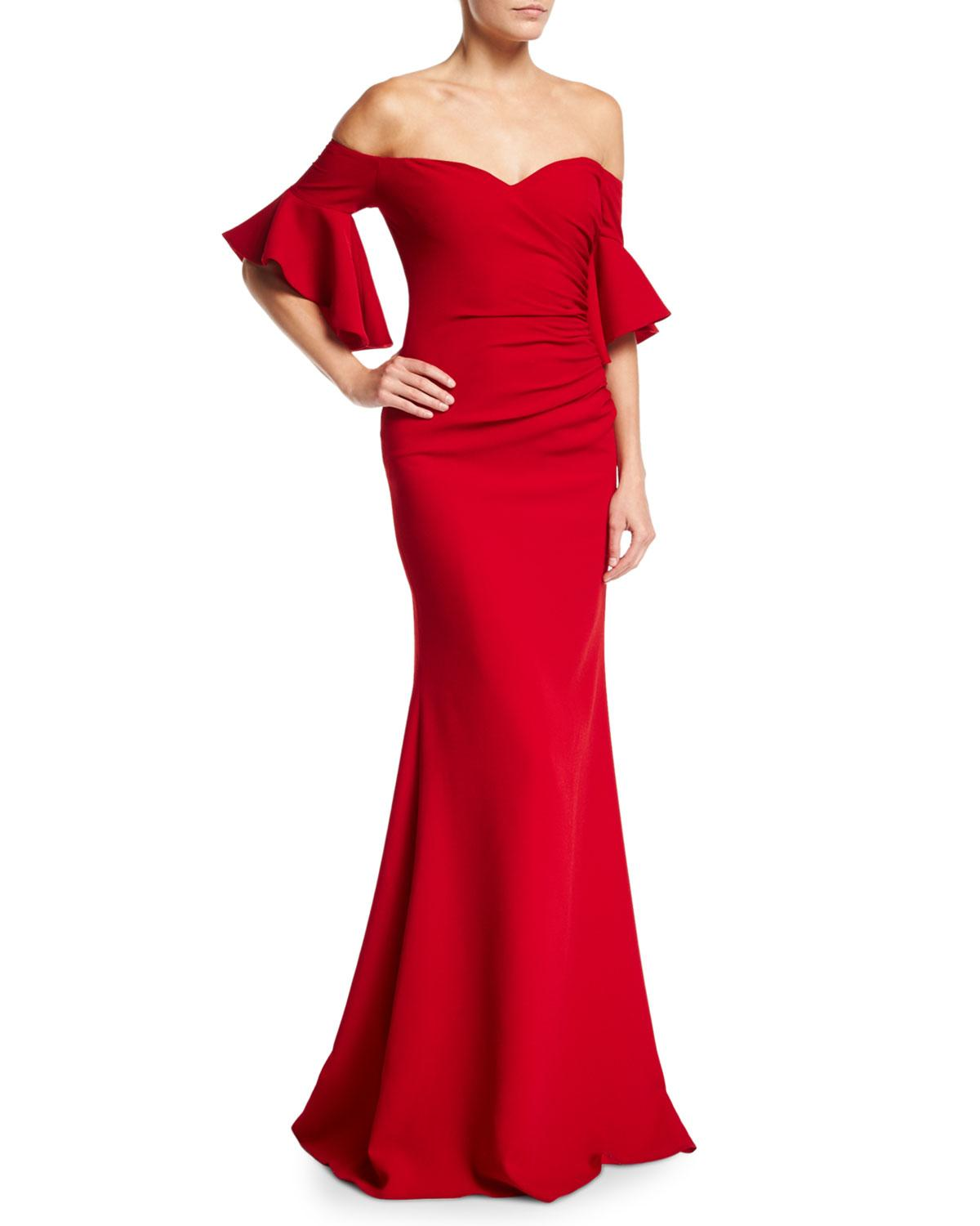 78fd9e4a35cf5 Badgley Mischka. Women's Red Off-the-shoulder Ruched Crepe Evening Gown