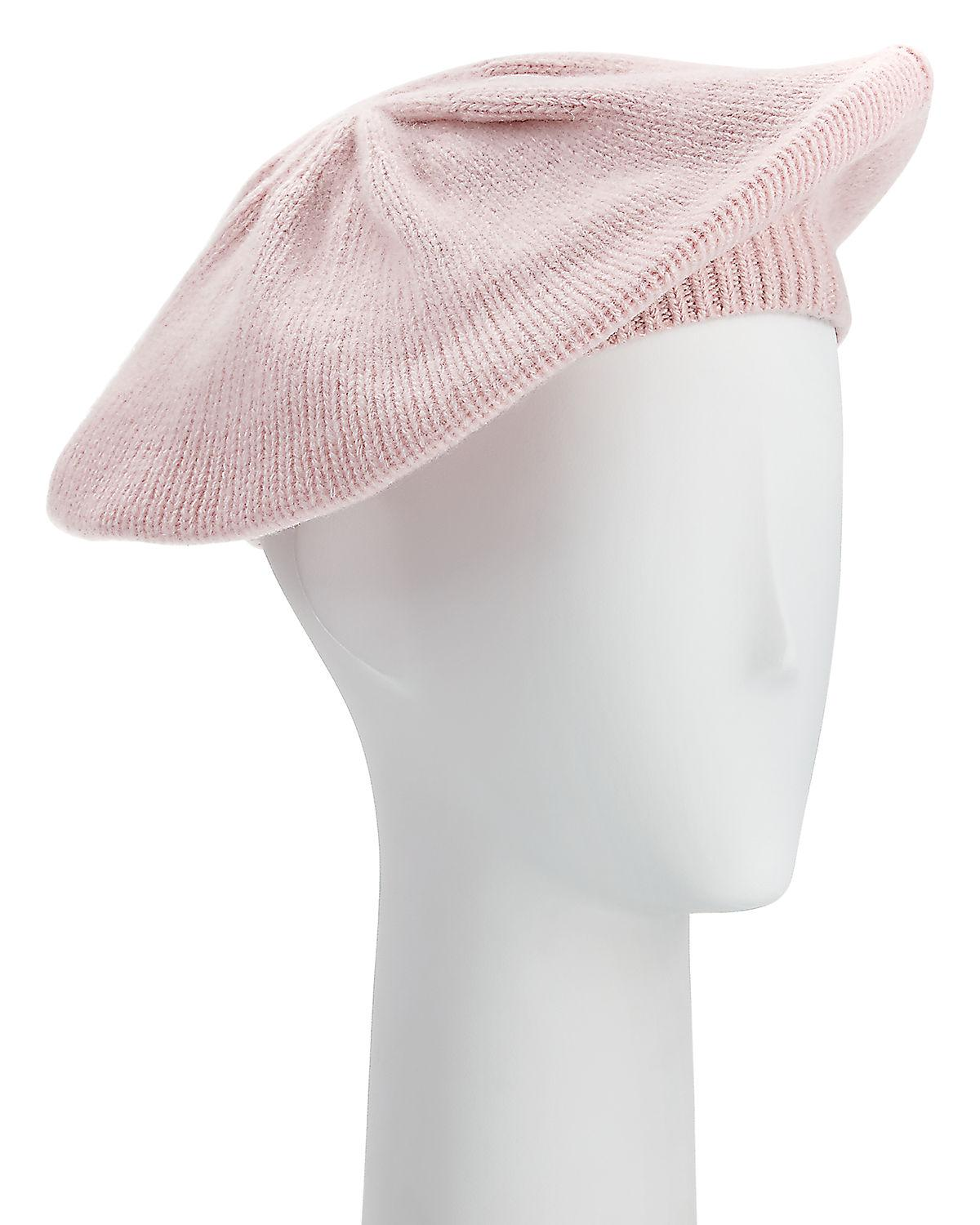 4165ff87587a7 Lyst - Portolano Knit Cashmere Beret in Pink