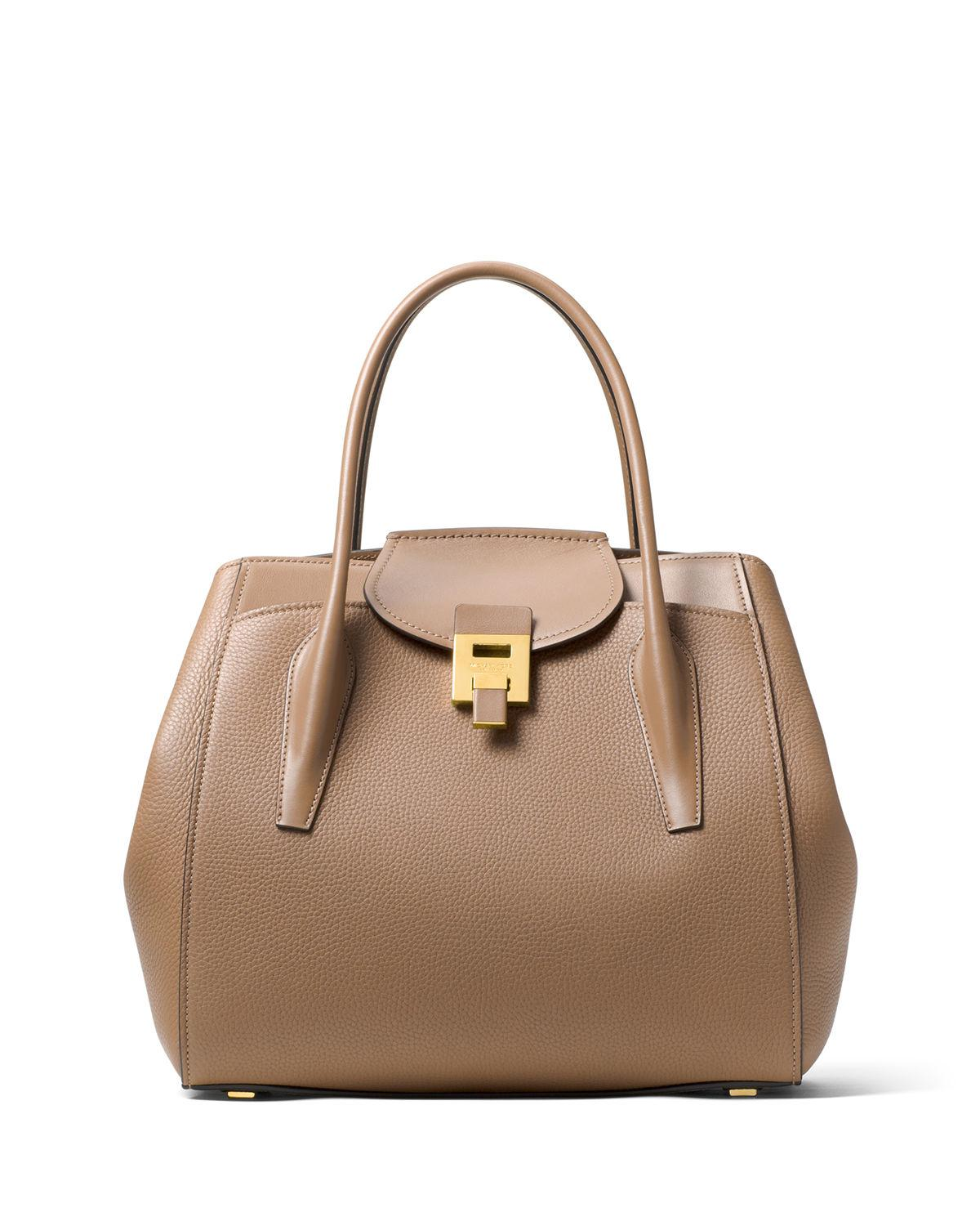 e206049f0dbf Lyst - Michael Kors Bancroft Large Pebbled Tote Bag in Brown
