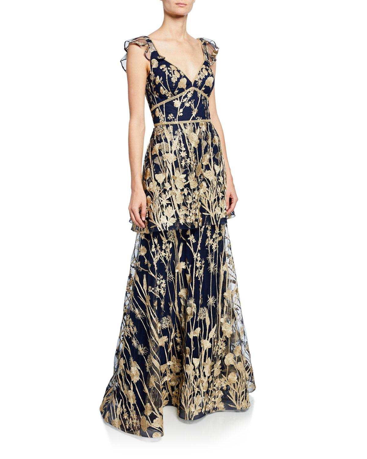 d0a8f5b0 Marchesa notte. Women's Blue V-neck Sleeveless Tiered Floral-embroidered  Gown ...